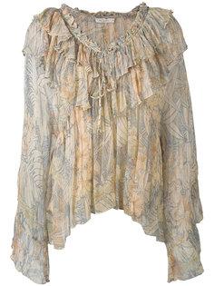 блузка со складками и рисунком из пальм Mes Demoiselles