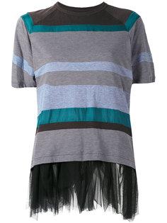 striped mesh trim top Kolor