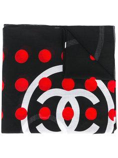 шарф в горошек с логотипом Chanel Vintage