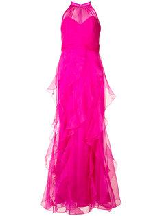layered maxi gown Badgley Mischka