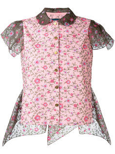cap sleeve floral shirt Kolor