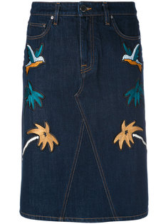 bird patch denim pencil skirt Victoria Victoria Beckham