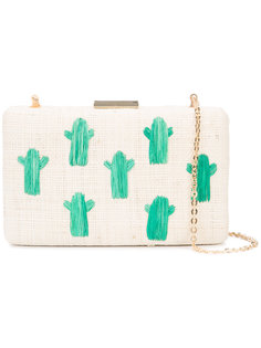 cactus embroidery woven clutch Kayu