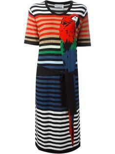 полосатое платье с принтом попугая Sonia Rykiel