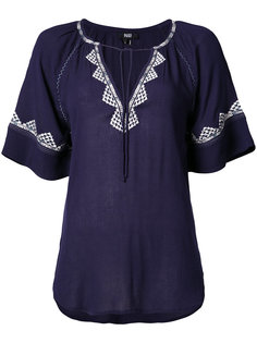 embroidered shortsleeved blouse  Paige