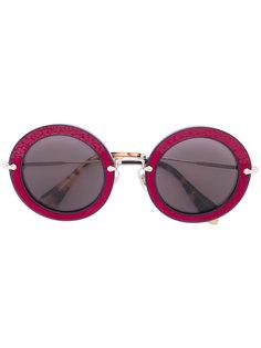 appliquéd round frame sunglasses Miu Miu Eyewear