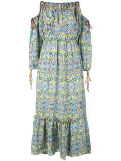 платье с открытыми плечами и цветочным узором Miahatami