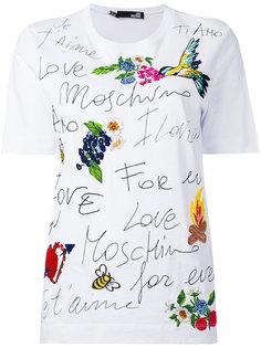 футболка с вышивкой Love Moschino