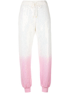 gradient sequin embellished track pants Ashish