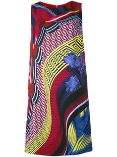 платье шифт с комбинированным принтом Versace