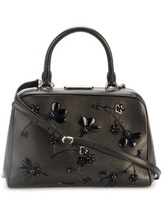 Leather Tote with Beaded Floral Embellishment Simone Rocha
