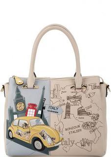 Кожаная сумка с декоративной отделкой Curanni