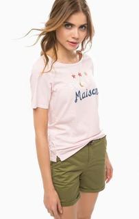 Розовая футболка из хлопка с принтом Scotch&Soda
