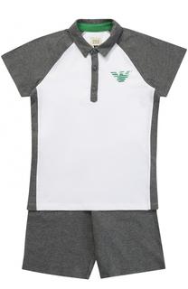 Комплект из хлопковой футболки и шорт с логотипом бренда Giorgio Armani