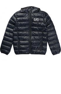 Стеганая пуховая куртка с капюшоном и логотипом бренда Ea 7