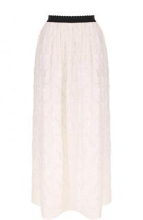Кружевная юбка-макси с контрастным принтом Blugirl