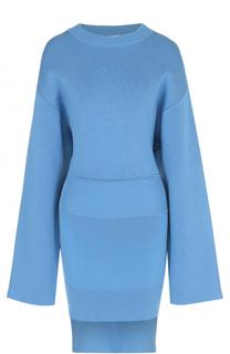 Вязаное мини-платье асимметричного кроя DKNY