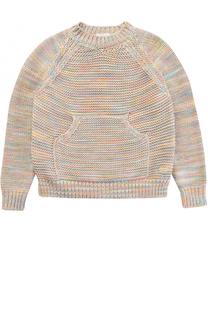 Хлопковый свитер фактурной вязки с карманом Chloé