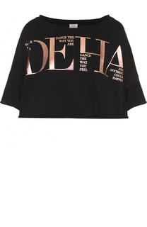 Укороченная футболка с металлизированным логотипом бренды Deha