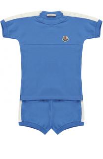 Комплект из футболки и шорт из эластичного хлопка с контрастной отделкой Moncler Enfant