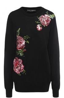 Удлиненный пуловер с цветочной вышивкой пайетками Dolce & Gabbana