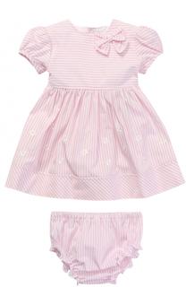 Комплект из платья и трусов в полоску с вышивкой Aletta