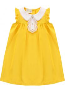 Хлопковое платье свободного кроя с декорированным воротником и оборками Gucci