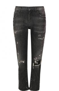 Укороченные джинсы с потертостями Faith Connexion
