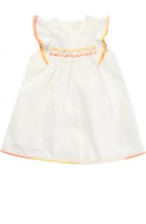 Хлопковое платье свободного кроя с контрастной отделкой и оборками Chloé
