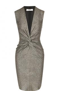Мини-платье с металлизированной отделкой и V-образным вырезом Lanvin