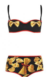 Раздельный купальник с контрастной отделкой и принтом Dolce & Gabbana