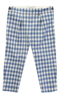 Шерстяные брюки в клетку с эластичной вставкой на поясе Gucci