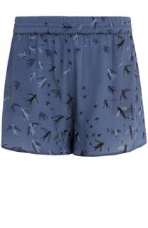 Шелковые мини-шорты с принтом Valentino