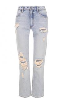Укороченные расклешенные джинсы с потертостями Denim X Alexander Wang