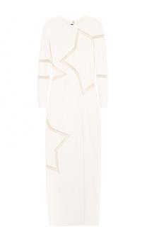 Платье с высоким разрезом и полупрозрачными вставками Elie Saab
