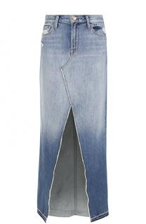 Джинсовая юбка с потертостями и высоким разрезом J Brand