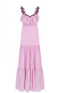 Платье-макси в полоску с оборкой Blugirl