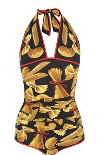 Слитный купальник с ярким принтом и открытой спиной Dolce & Gabbana