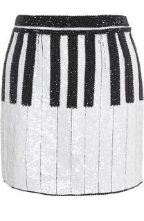 Мини-юбка с контрастной вышивкой пайетками Dolce & Gabbana