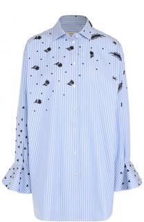 Удлиненная блуза в полоску с контрастной вышивкой Valentino