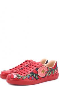 Кожаные кеды Ace с контрастной вышивкой Gucci