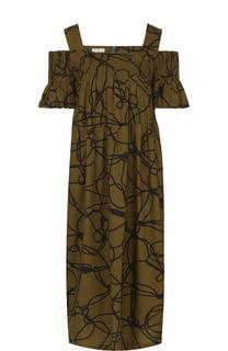 Платье свободного кроя с открытыми плечами Dries Van Noten