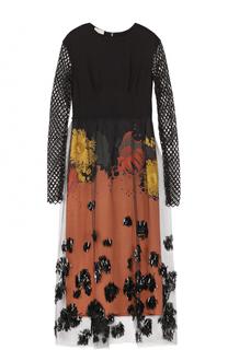 Приталенное платье-миди с перфорированными рукавами Dries Van Noten
