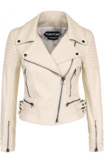Приталенная кожаная куртка с косой молнией Tom Ford