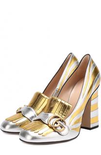 Туфли Marmont из металлизированной кожи с пряжкой Gucci