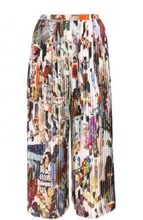 Шелковые плиссированные брюки с принтом Christopher Kane