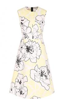 Приталенное платье-миди с цветочным принтом Marni