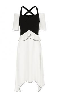 Мини-платье асимметричного кроя с открытыми плечами Proenza Schouler