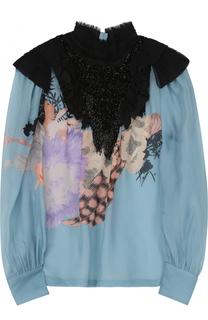 Шелковая полупрозрачная блуза с принтом и декоративной отделкой бисером Dries Van Noten
