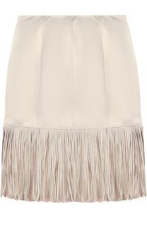 Приталенная юбка из эко-замши с бахромой Monnalisa
